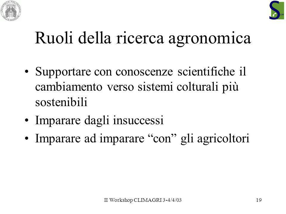 II Workshop CLIMAGRI 3-4/4/0319 Ruoli della ricerca agronomica Supportare con conoscenze scientifiche il cambiamento verso sistemi colturali più soste