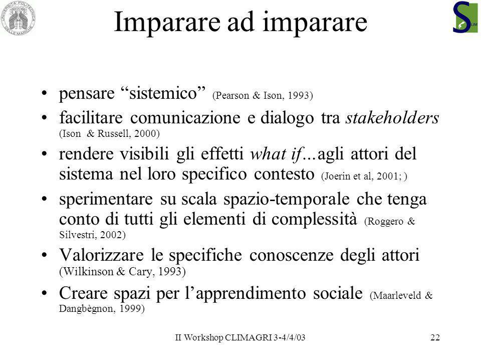 II Workshop CLIMAGRI 3-4/4/0322 Imparare ad imparare pensare sistemico (Pearson & Ison, 1993) facilitare comunicazione e dialogo tra stakeholders (Iso