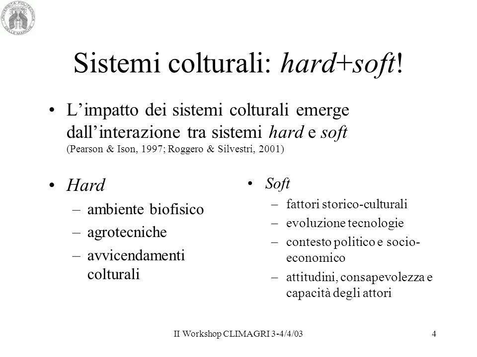 II Workshop CLIMAGRI 3-4/4/034 Sistemi colturali: hard+soft! Limpatto dei sistemi colturali emerge dallinterazione tra sistemi hard e soft (Pearson &
