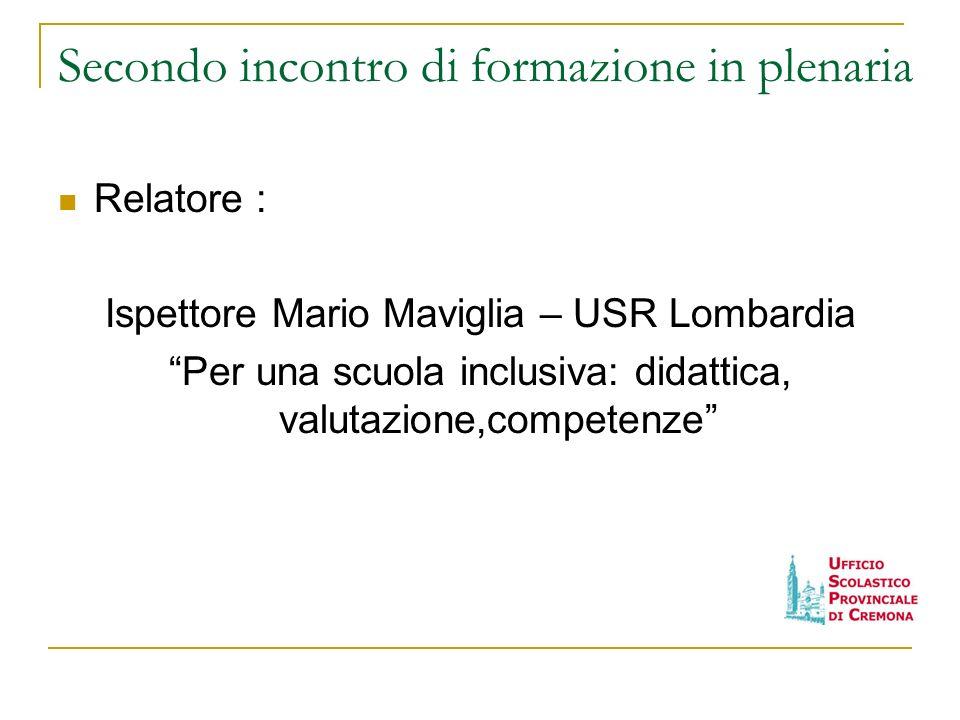 Secondo incontro di formazione in plenaria Relatore : Ispettore Mario Maviglia – USR Lombardia Per una scuola inclusiva: didattica, valutazione,compet