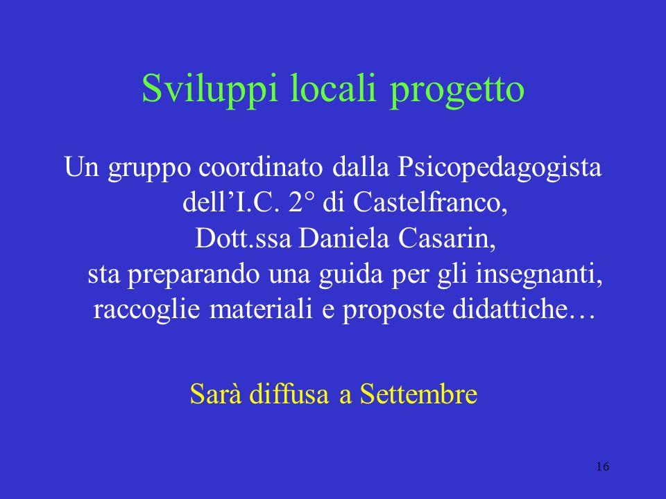 16 Sviluppi locali progetto Un gruppo coordinato dalla Psicopedagogista dellI.C. 2° di Castelfranco, Dott.ssa Daniela Casarin, sta preparando una guid