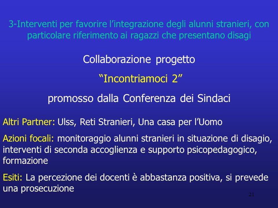 21 3-Interventi per favorire lintegrazione degli alunni stranieri, con particolare riferimento ai ragazzi che presentano disagi Collaborazione progett
