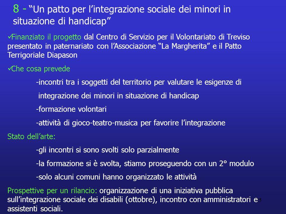 25 Finanziato il progetto dal Centro di Servizio per il Volontariato di Treviso presentato in paternariato con lAssociazione La Margherita e il Patto