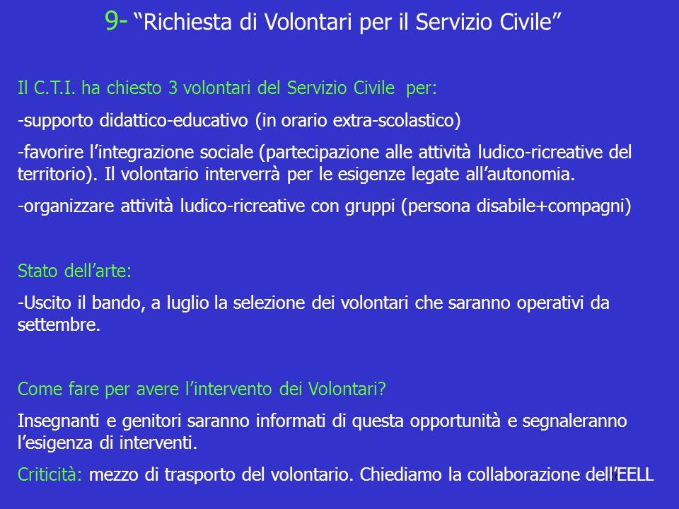 26 Il C.T.I. ha chiesto 3 volontari del Servizio Civile per: -supporto didattico-educativo (in orario extra-scolastico) -favorire lintegrazione social