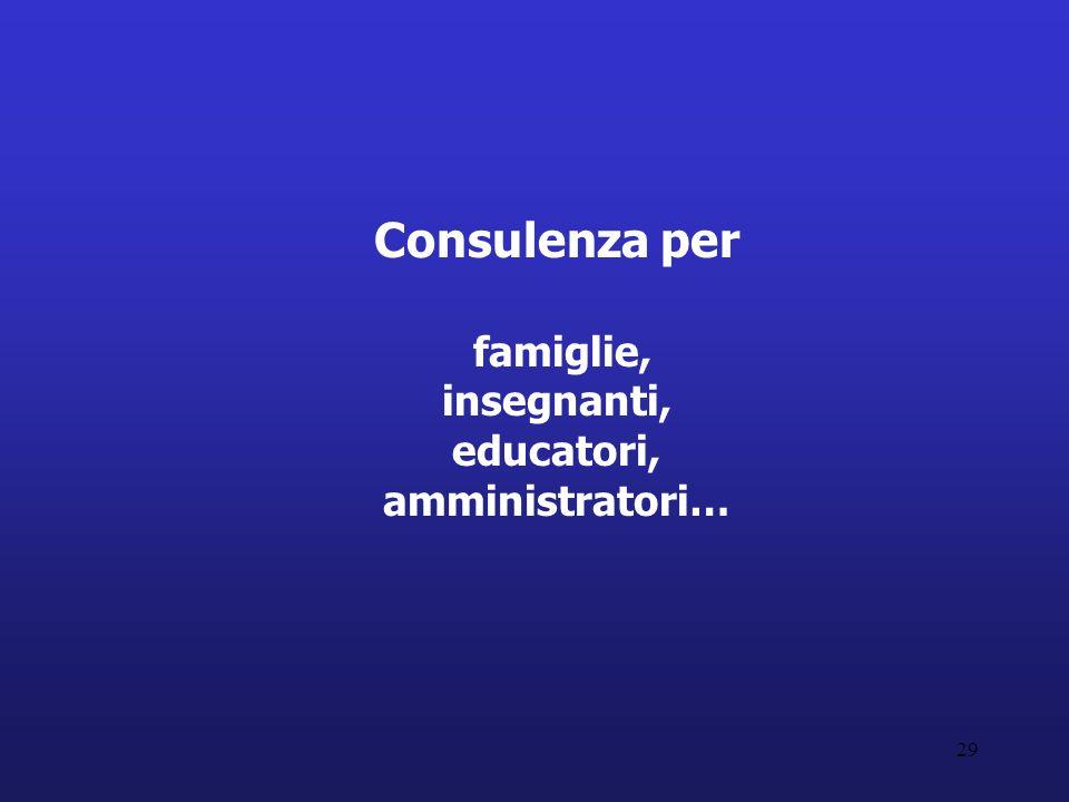 29 Consulenza per famiglie, insegnanti, educatori, amministratori…