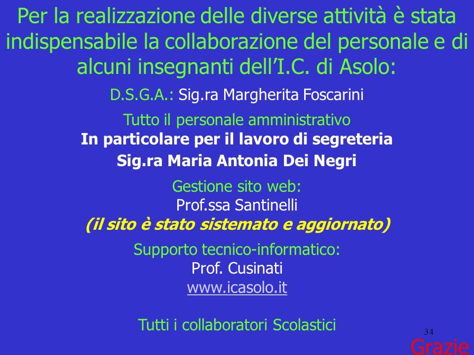 34 Per la realizzazione delle diverse attività è stata indispensabile la collaborazione del personale e di alcuni insegnanti dellI.C. di Asolo: D.S.G.