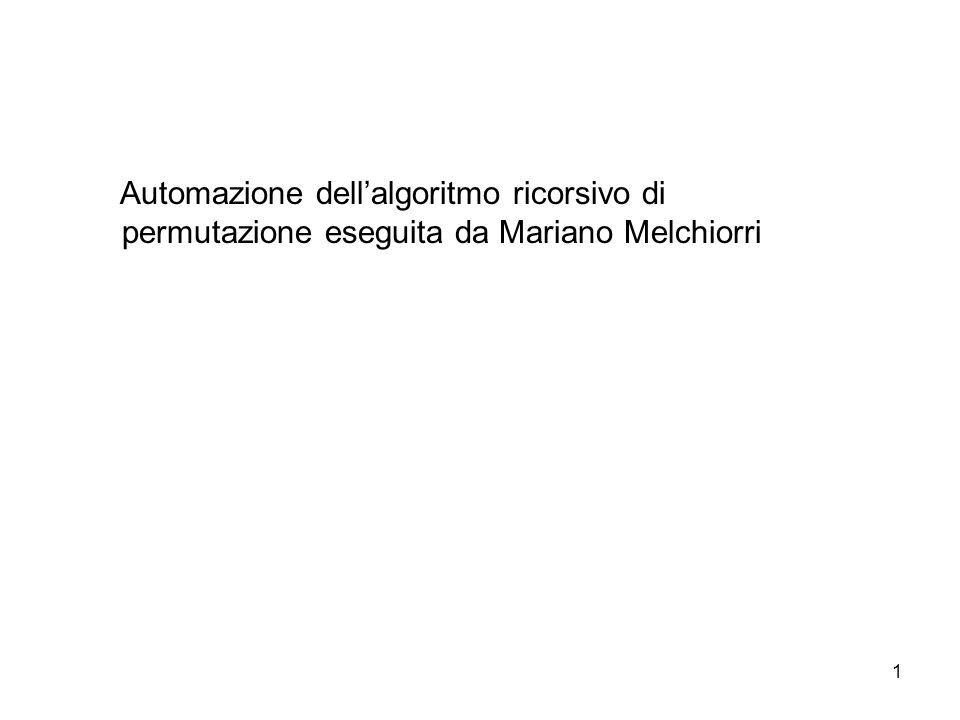 1 Automazione dellalgoritmo ricorsivo di permutazione eseguita da Mariano Melchiorri