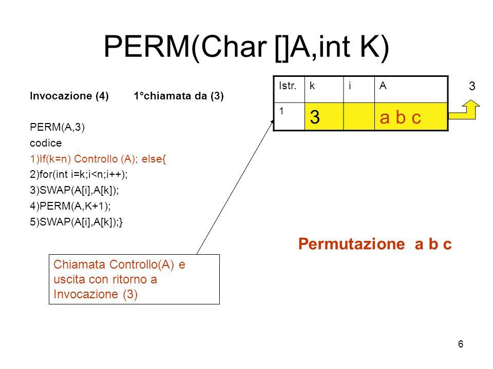 27 PERM(Char []A,int K) Invocazione (13) 1°chiamata da (12) PERM(A,2) codice 1)If(k=n) Controllo (A); else{ 2)for(int i=k;i<n;i++); 3)SWAP(A[i],A[k]); 4)PERM(A,K+1); 5)SWAP(A[i],A[k]);} Istr.kiA 1 2c b a 2 22 3 22 4 22 5 22 2 23 Fine primo ciclo di for Incremento di i, uscita dal for e ritorno a Invocazione (12) 14 12