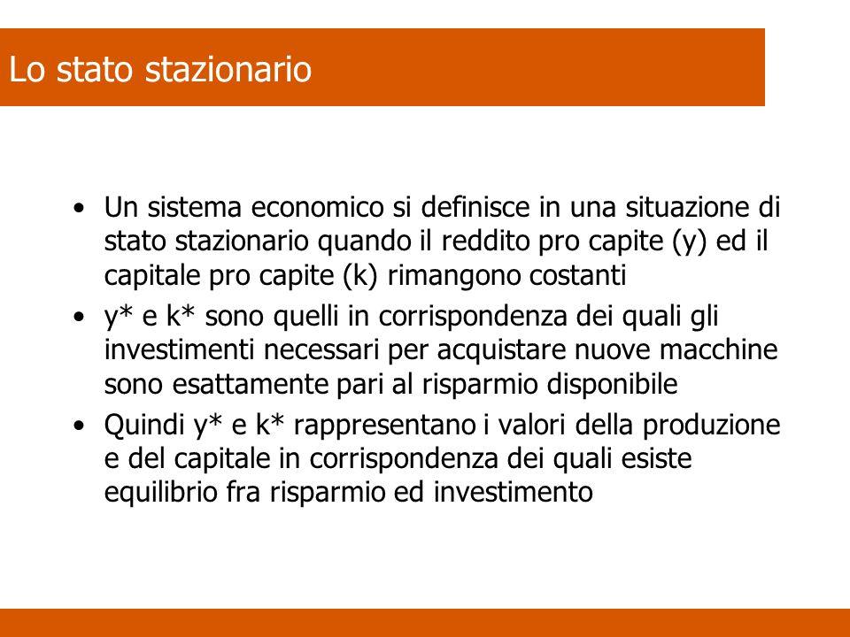 Un sistema economico si definisce in una situazione di stato stazionario quando il reddito pro capite (y) ed il capitale pro capite (k) rimangono cost