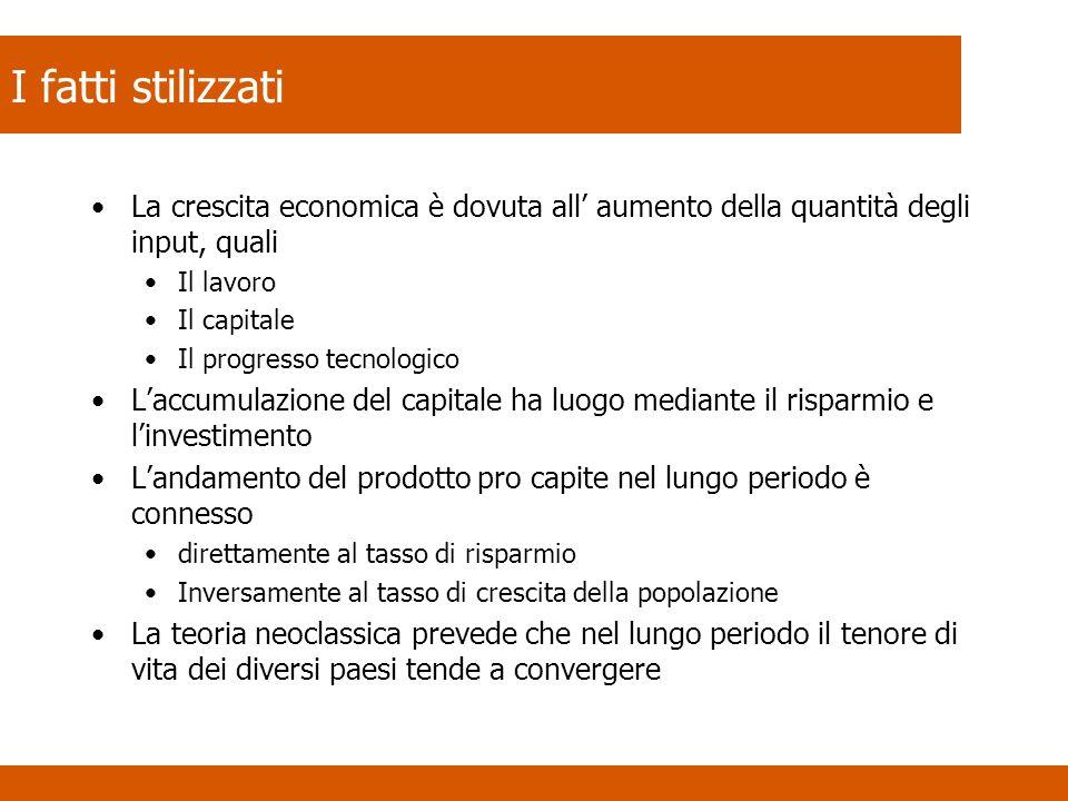 I fatti stilizzati La crescita economica è dovuta all aumento della quantità degli input, quali Il lavoro Il capitale Il progresso tecnologico Laccumu