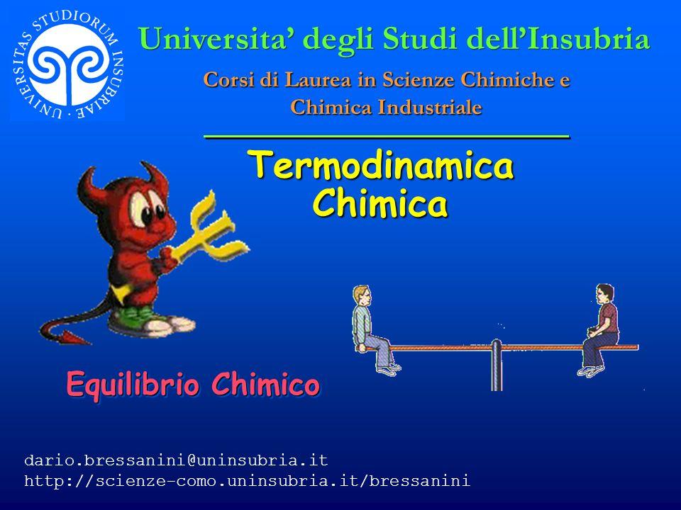 © Dario Bressanini12 Equilibrio di gas Ideali Consideriamo un equilibrio tra due gas ideali Consideriamo un equilibrio tra due gas ideali Per un gas ideale (con p = p/p°) Per un gas ideale (con p = p/p°)