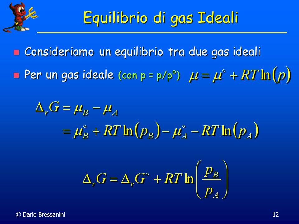 © Dario Bressanini12 Equilibrio di gas Ideali Consideriamo un equilibrio tra due gas ideali Consideriamo un equilibrio tra due gas ideali Per un gas i