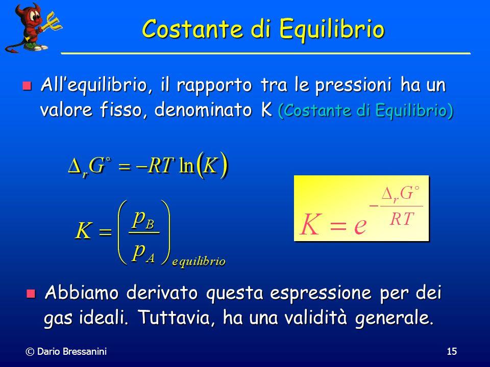 © Dario Bressanini15 Costante di Equilibrio Allequilibrio, il rapporto tra le pressioni ha un valore fisso, denominato K (Costante di Equilibrio) Alle