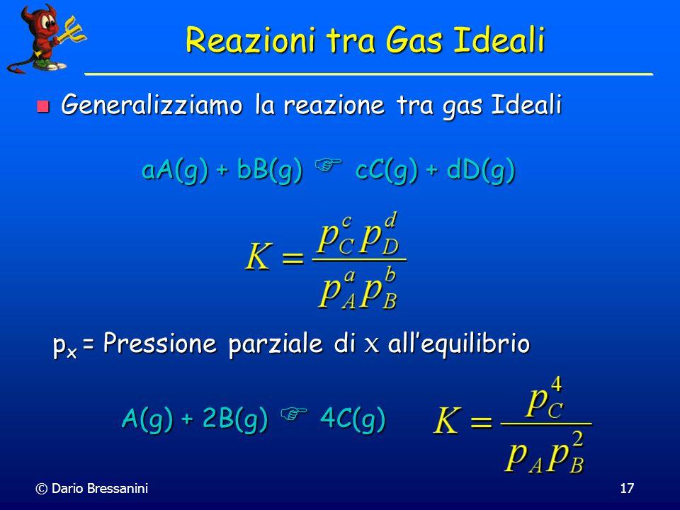 © Dario Bressanini17 Generalizziamo la reazione tra gas Ideali Generalizziamo la reazione tra gas Ideali p x = Pressione parziale di x allequilibrio R