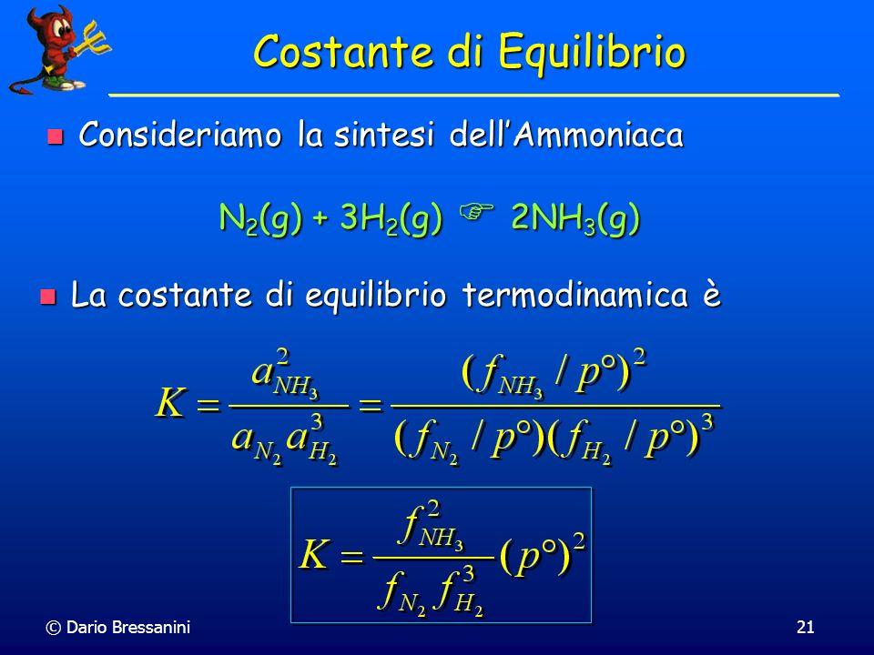 © Dario Bressanini21 Consideriamo la sintesi dellAmmoniaca Consideriamo la sintesi dellAmmoniaca Costante di Equilibrio N 2 (g) + 3H 2 (g) 2NH 3 (g) L