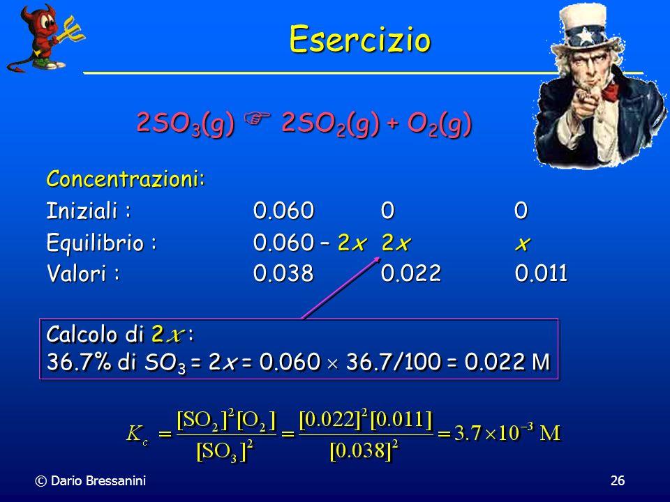 © Dario Bressanini26 Concentrazioni: Iniziali : 0.060 0 0 Equilibrio : 0.060 – 2x2x x Esercizio 2SO 3 (g) 2SO 2 (g) + O 2 (g) Valori : 0.038 0.022 0.0