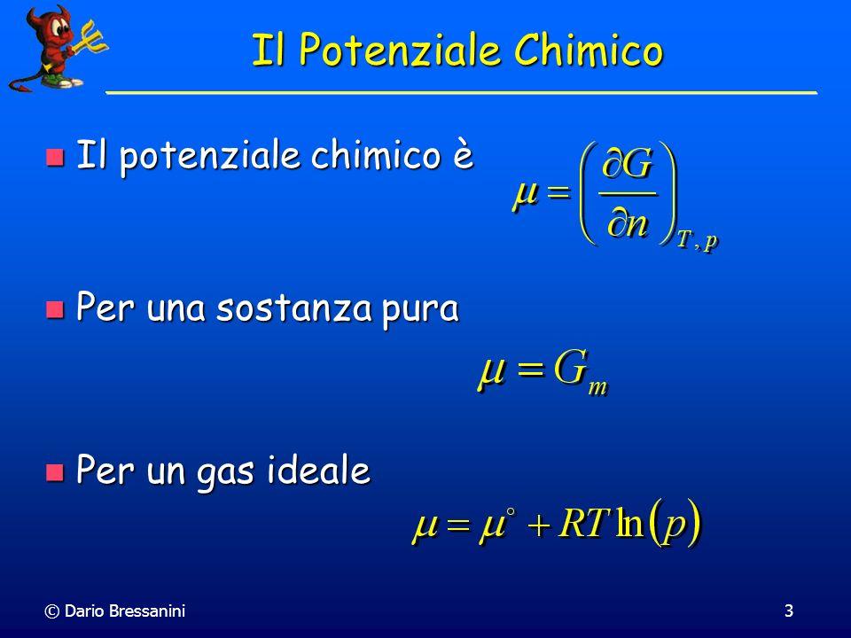 © Dario Bressanini24 Per una reazione in soluzione Per una reazione in soluzione Quoziente di Reazione Allequilibrio: aA + bB cC + dD Definito per un sistema non necessariamente allequilibrio Quoziente di Reazione