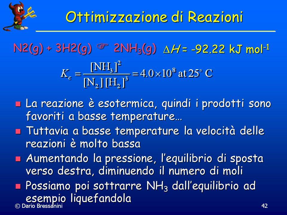 © Dario Bressanini42 H = -92.22 kJ mol -1 H = -92.22 kJ mol -1 Ottimizzazione di Reazioni La reazione è esotermica, quindi i prodotti sono favoriti a