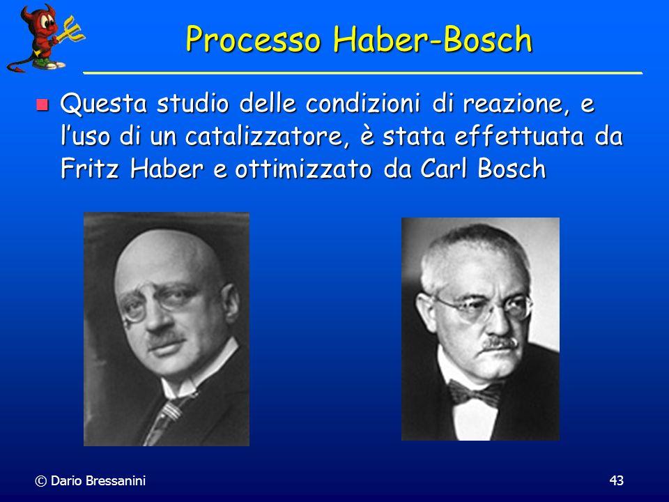 © Dario Bressanini43 Processo Haber-Bosch Questa studio delle condizioni di reazione, e luso di un catalizzatore, è stata effettuata da Fritz Haber e
