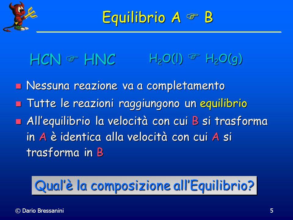 © Dario Bressanini6 Equilibrio A B Consideriamo separatamente le due reazioni Consideriamo separatamente le due reazioni Calcolando i r G (uno lopposto dellaltro) possiamo stabilire quale delle due è spontanea Calcolando i r G (uno lopposto dellaltro) possiamo stabilire quale delle due è spontanea Supponiamo che la prima reazione sia spontanea Supponiamo che la prima reazione sia spontanea r G = G B,m – G A,m = B – A < 0 r G = G B,m – G A,m = B – A < 0 Allora la seconda non lo è.