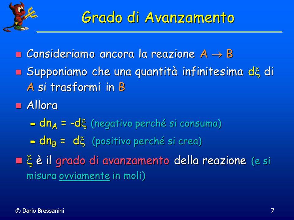 © Dario Bressanini7 Grado di Avanzamento Consideriamo ancora la reazione A B Consideriamo ancora la reazione A B Supponiamo che una quantità infinites