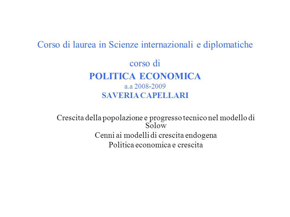 Corso di laurea in Scienze internazionali e diplomatiche corso di POLITICA ECONOMICA a.a 2008-2009 SAVERIA CAPELLARI Crescita della popolazione e prog