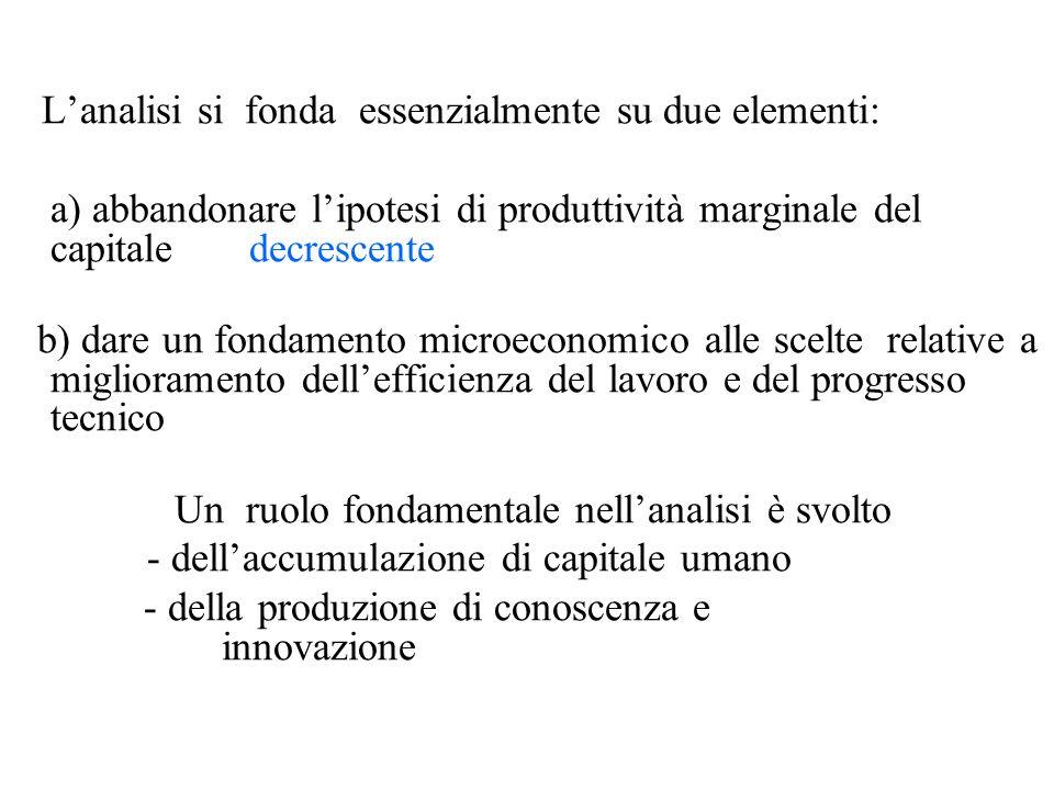 Lanalisi si fonda essenzialmente su due elementi: a) abbandonare lipotesi di produttività marginale del capitale decrescente b) dare un fondamento mic
