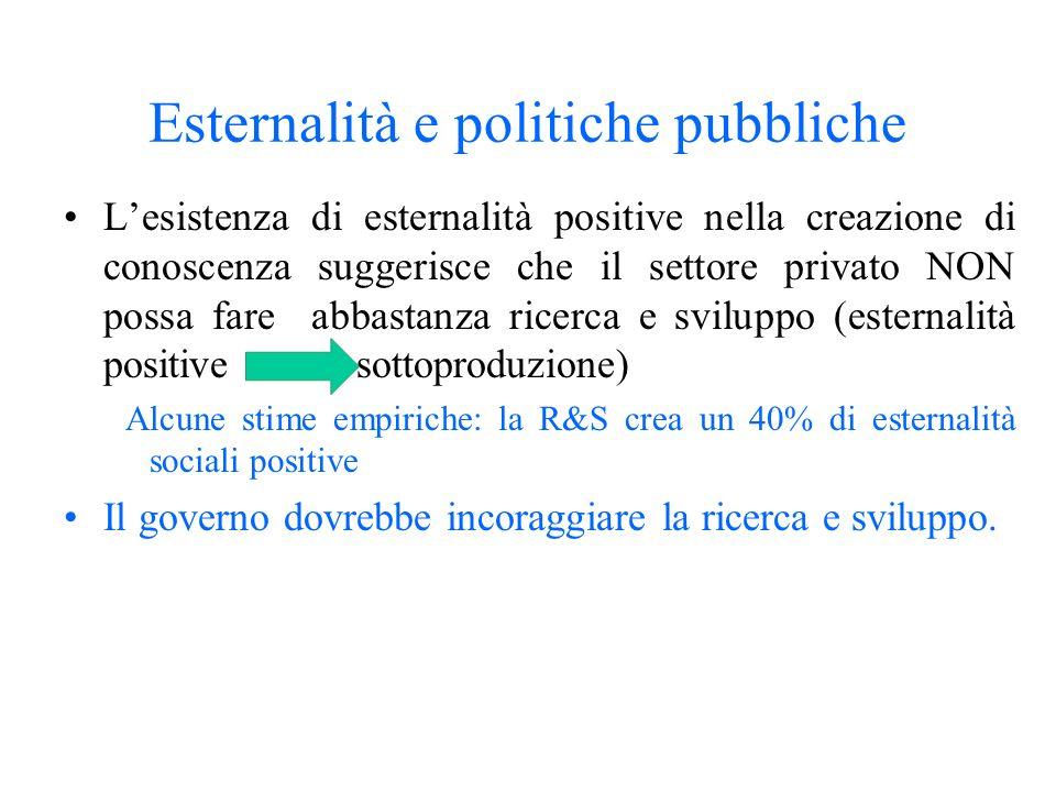 Esternalità e politiche pubbliche Lesistenza di esternalità positive nella creazione di conoscenza suggerisce che il settore privato NON possa fare ab