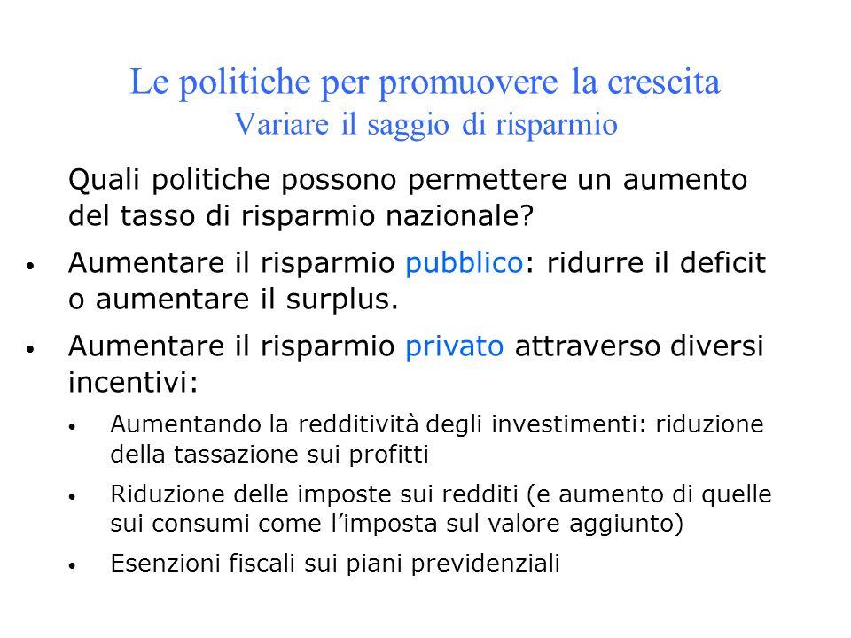 Quali politiche possono permettere un aumento del tasso di risparmio nazionale? Aumentare il risparmio pubblico: ridurre il deficit o aumentare il sur