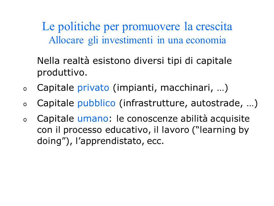 Nella realtà esistono diversi tipi di capitale produttivo. o Capitale privato (impianti, macchinari, …) o Capitale pubblico (infrastrutture, autostrad
