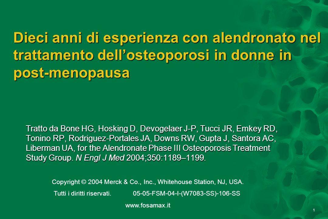 12 Donne con fratture per 100 Pazienti-anni 0 1 2 3 4 5 Placebo (n=397) Placebo stimato ALN 20/5/PBO (n=83) ALN 5 mg (n=78) ALN 10 mg (n=86) Anni 1–3Anni 6–10 Riduzione delle fratture non vertebrali mantenuta nel corso di 10 anni Tratto da Bone HG et al N Engl J Med 2004;350:1189–1199.