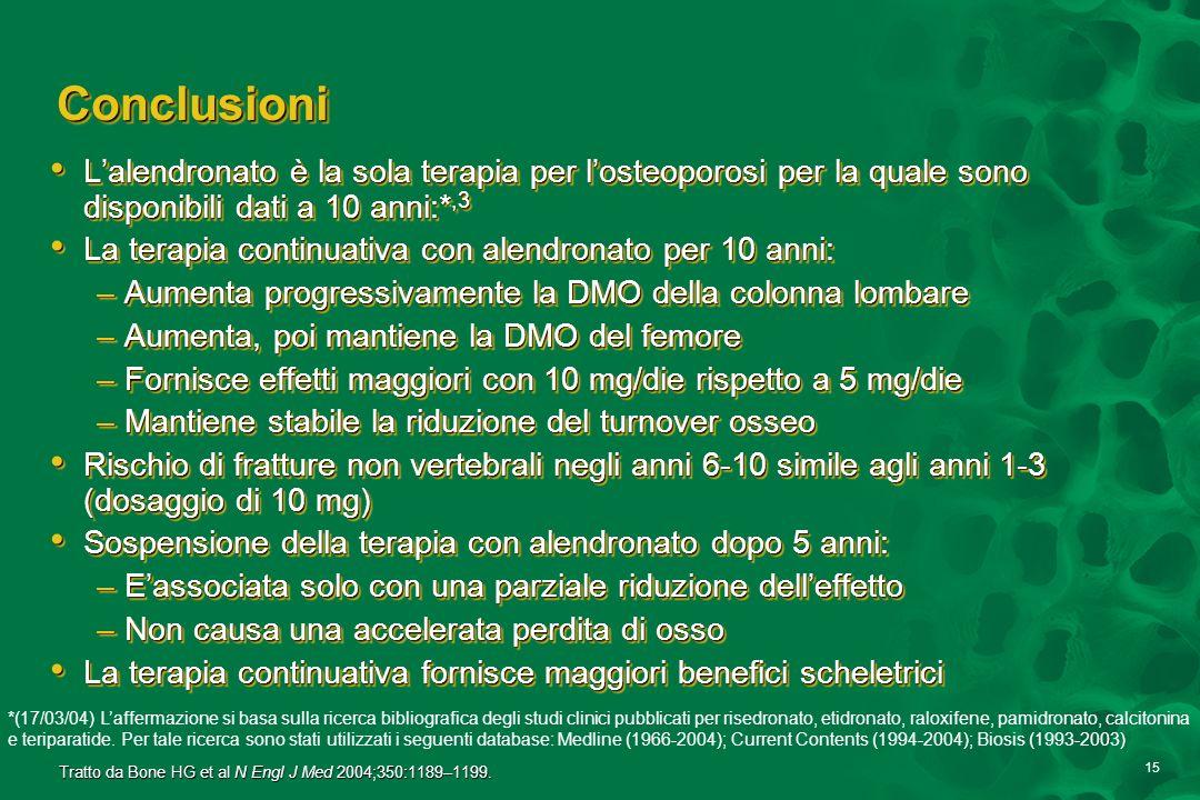 15 ConclusioniConclusioni Lalendronato è la sola terapia per losteoporosi per la quale sono disponibili dati a 10 anni:*,3 Lalendronato è la sola tera