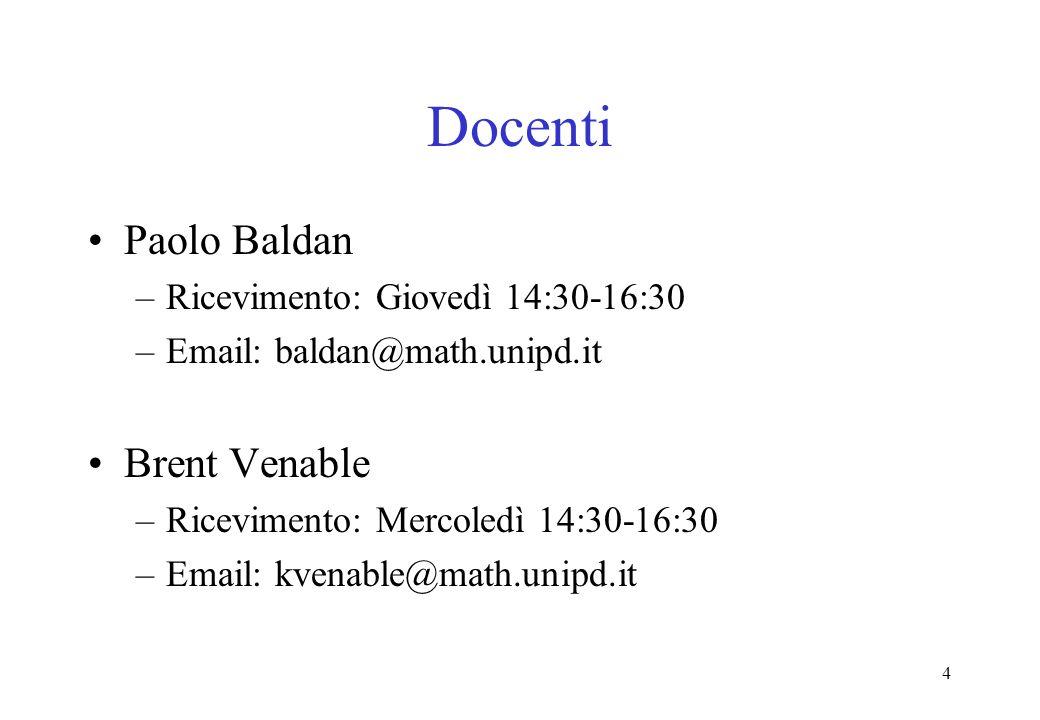 4 Docenti Paolo Baldan –Ricevimento: Giovedì 14:30-16:30 –Email: baldan@math.unipd.it Brent Venable –Ricevimento: Mercoledì 14:30-16:30 –Email: kvenable@math.unipd.it