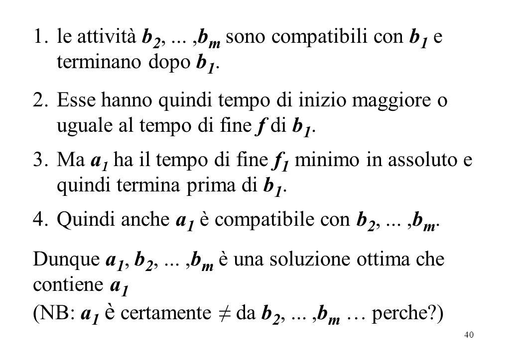 40 1.le attività b 2,...,b m sono compatibili con b 1 e terminano dopo b 1. 2.Esse hanno quindi tempo di inizio maggiore o uguale al tempo di fine f d