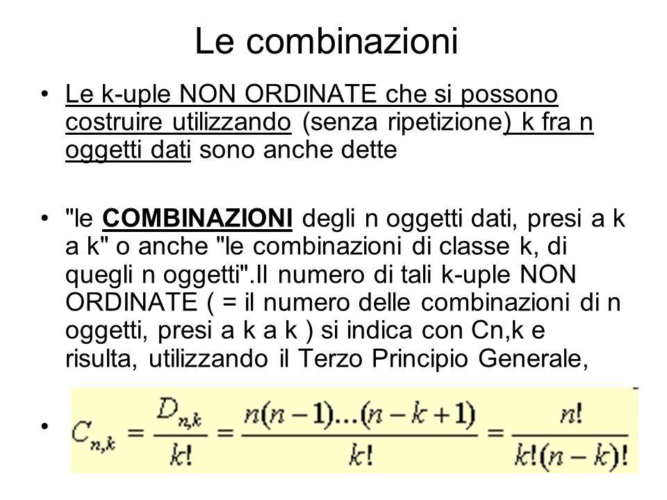 Le combinazioni Le k-uple NON ORDINATE che si possono costruire utilizzando (senza ripetizione) k fra n oggetti dati sono anche dette