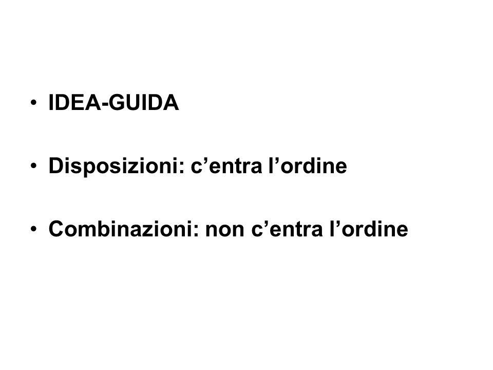 IDEA-GUIDA Disposizioni: centra lordine Combinazioni: non centra lordine