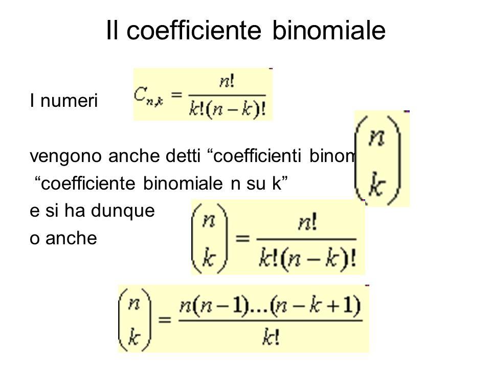 Il coefficiente binomiale I numeri vengono anche detti coefficienti binomialio coefficiente binomiale n su k e si ha dunque o anche