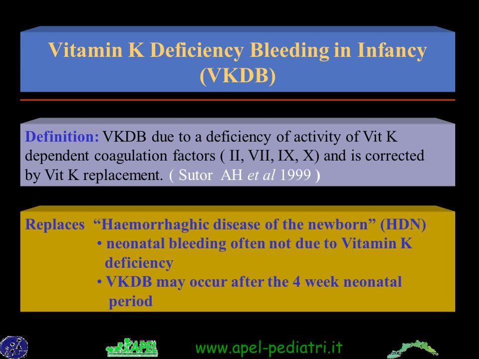 FEDERAZIONE REGIONALE ORDINI DEI MEDICI DELLA LIGURIA www.apel-pediatri.it Vitamin K Deficiency Bleeding in Infancy (VKDB) Replaces Haemorrhaghic disease of the newborn (HDN) neonatal bleeding often not due to Vitamin K deficiency VKDB may occur after the 4 week neonatal period Definition: VKDB due to a deficiency of activity of Vit K dependent coagulation factors ( II, VII, IX, X) and is corrected by Vit K replacement.