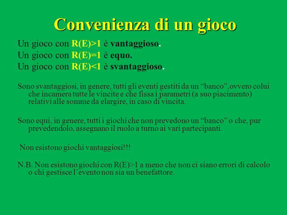 Convenienza di un gioco Un gioco con R(E)>1 è vantaggioso. Un gioco con R(E)=1 è equo. Un gioco con R(E)<1 è svantaggioso. Sono svantaggiosi, in gener