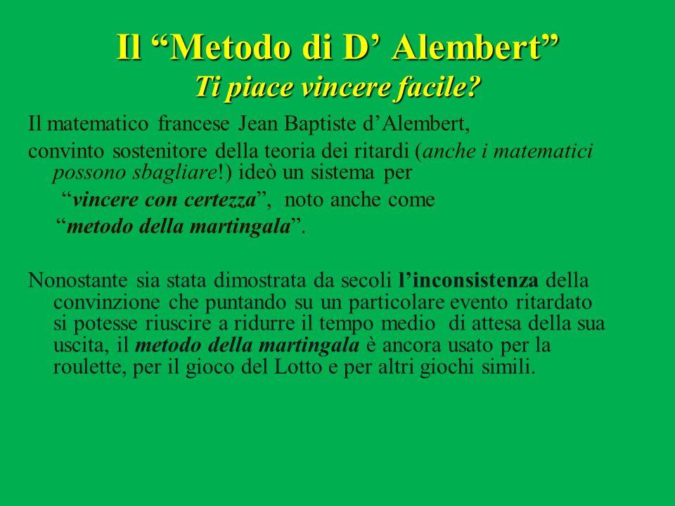 Il Metodo di D Alembert Ti piace vincere facile? Il matematico francese Jean Baptiste dAlembert, convinto sostenitore della teoria dei ritardi (anche