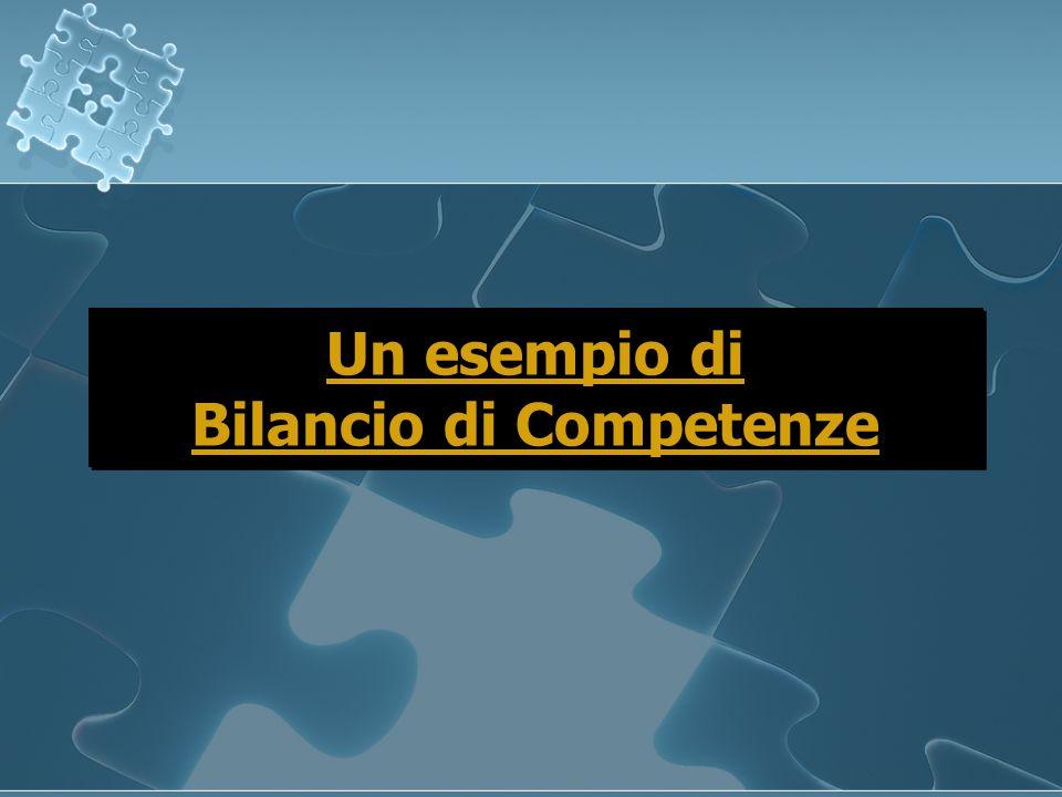 Un esempio di Bilancio di Competenze Un esempio di Bilancio di Competenze