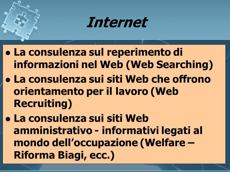 Internet Internet La consulenza sul reperimento di informazioni nel Web (Web Searching) La consulenza sui siti Web che offrono orientamento per il lav