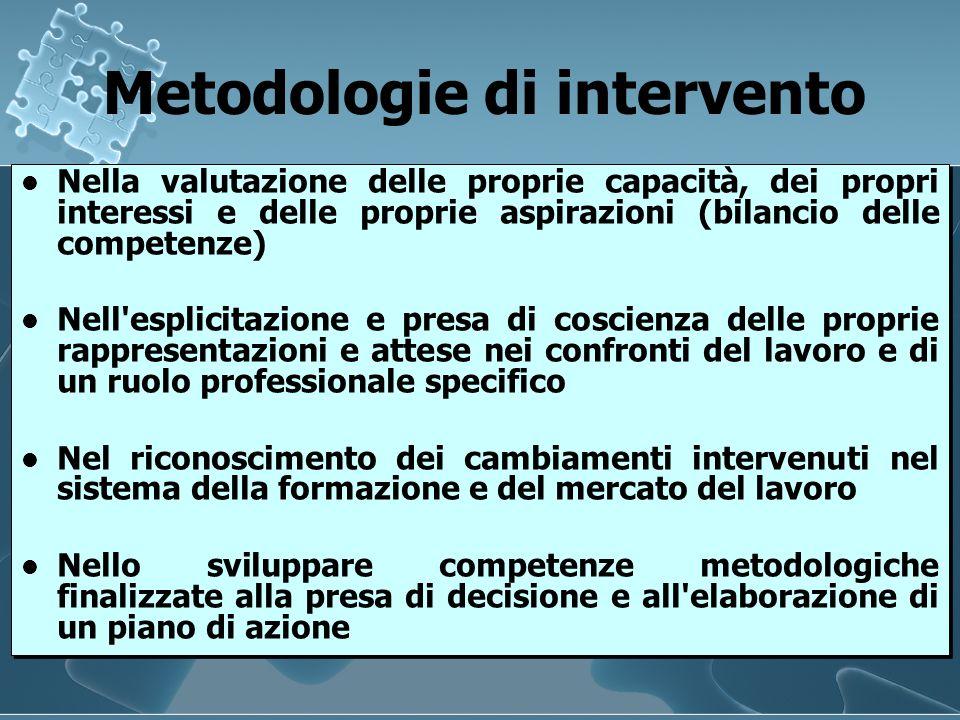 Metodologie di intervento Metodologie di intervento Nella valutazione delle proprie capacità, dei propri interessi e delle proprie aspirazioni (bilanc