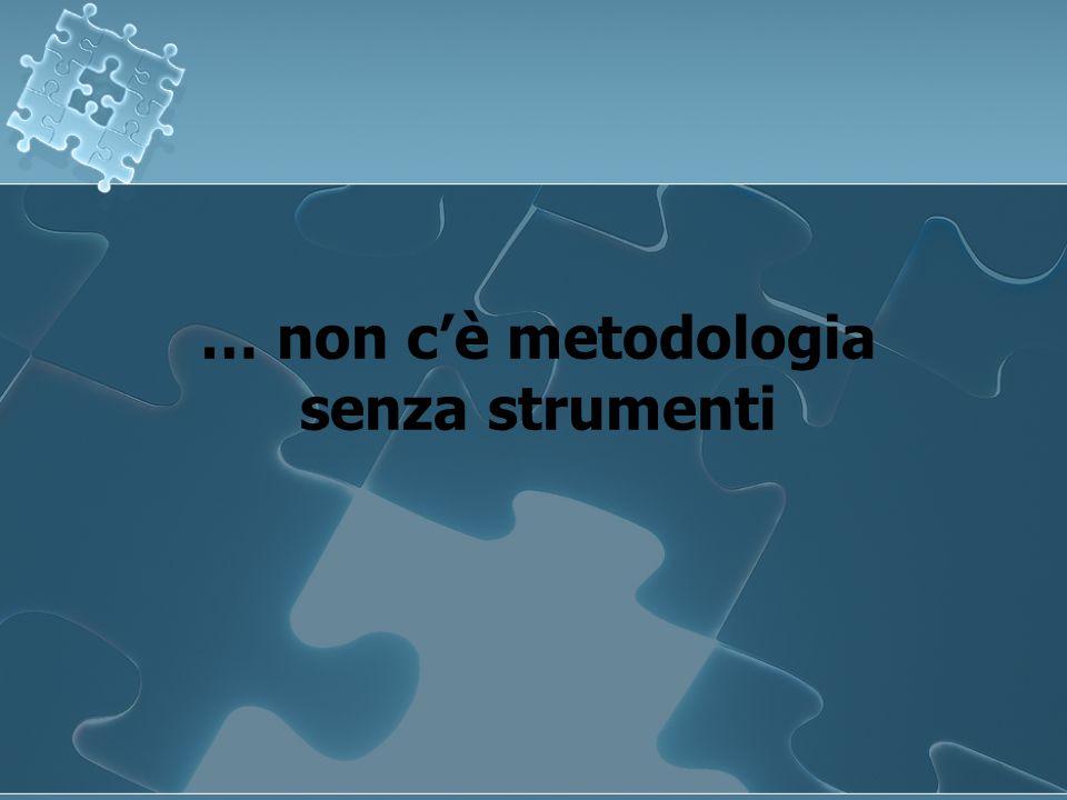 … non cè metodologia senza strumenti … non cè metodologia senza strumenti