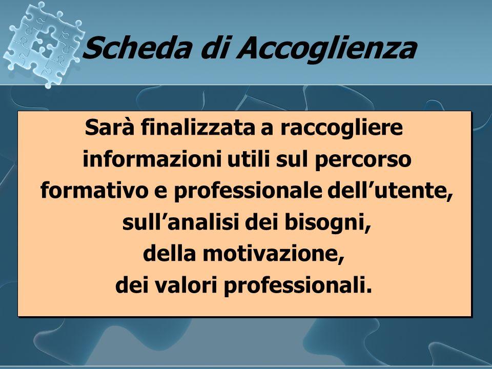 Scheda di Accoglienza Scheda di Accoglienza Sarà finalizzata a raccogliere informazioni utili sul percorso formativo e professionale dellutente, sulla