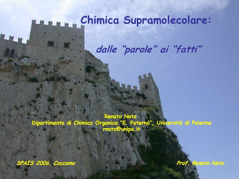 Chimica Supramolecolare: dalle parole ai fatti SPAIS 2006, CaccamoProf. Renato Noto Renato Noto Dipartimento di Chimica Organica E. Paternò, Universit