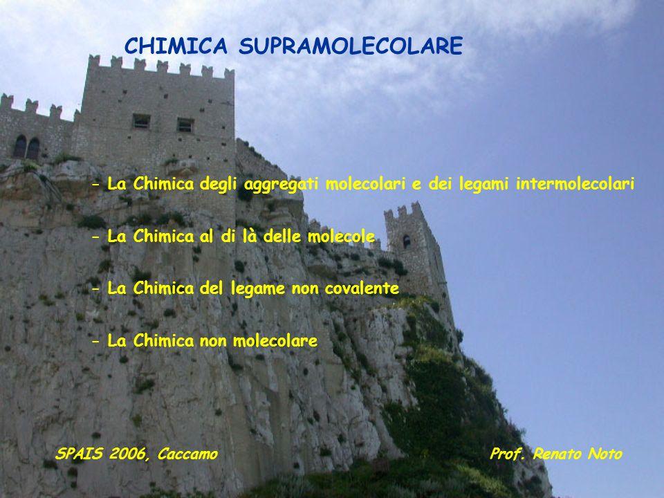 Prof. Renato NotoSPAIS 2006, Caccamo CHIMICA SUPRAMOLECOLARE - La Chimica degli aggregati molecolari e dei legami intermolecolari - La Chimica al di l