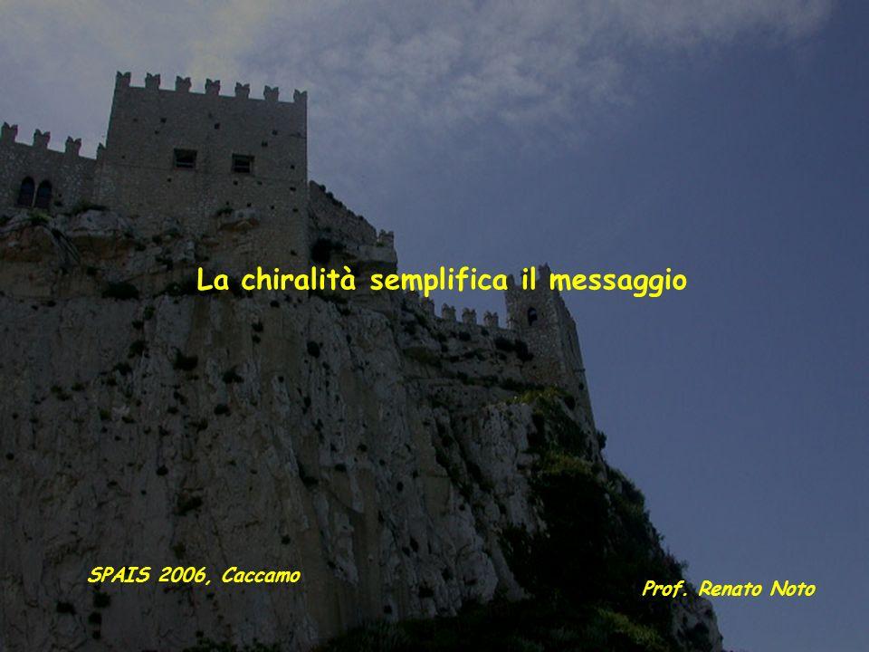 La chiralità semplifica il messaggio Prof. Renato Noto SPAIS 2006, Caccamo