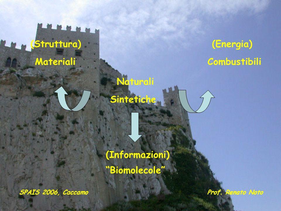 Naturali Sintetiche (Struttura) Materiali (Energia) Combustibili (Informazioni) Biomolecole SPAIS 2006, CaccamoProf. Renato Noto