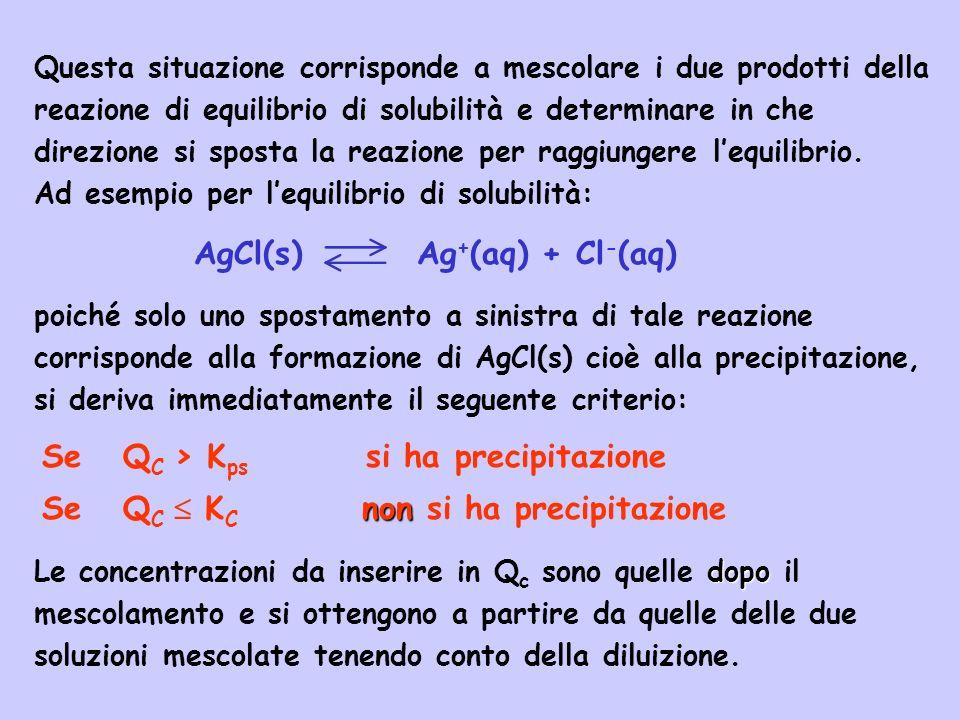 Se Q C > K ps si ha precipitazione non Se Q C K C non si ha precipitazione Questa situazione corrisponde a mescolare i due prodotti della reazione di
